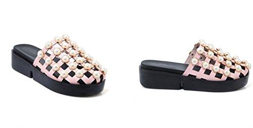 WEIQI-Sandalias de Las Señoras/Zapatos Flojos de la Parte Posterior de la PU del Verano PU/ahuecando, Perlas, Comodidad, comprando/festejando, 4cm, 30-42 Rosa