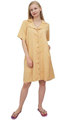 with Beige Nighty Bimba Pockets Sleepshirt Collar Shirt Women's Notched qn66UYZS