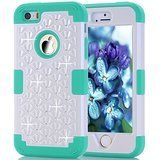 iPhone SE Case, Speedup Diamond Studded Crystal Rhinestone 3 in 1 Bling Hybrid Shockproof Cover Silicone and Hard PC Case For Apple iPhone SE (2016) & iPhone 5S / 5 (2013) (White Blue)