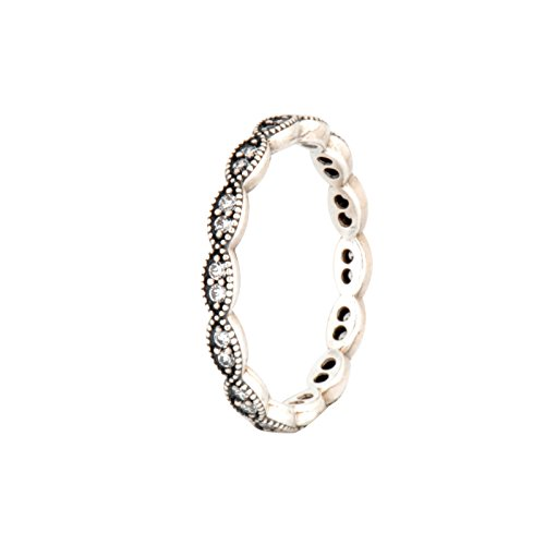 PANDORA Sparkling Leaves Stackable Ring, Clear CZ 190923CZ-54 EU 7 US - Pandora Stackable Rings