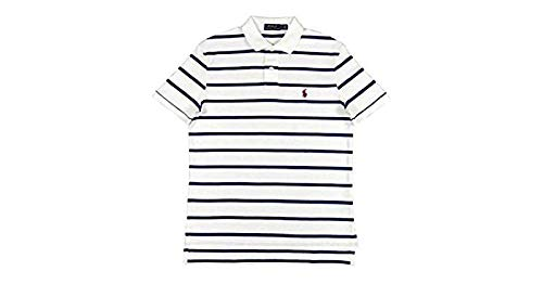 (Polo Ralph Lauren Men's Soft Touch Classic Fit Short Sleeve Polo Shirt Striped Two-Button (White/Navy, XX-Large))