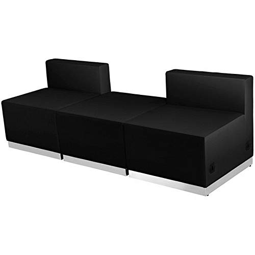 16' Bentwood Chair - Campton 3 Piece Guest Seating Reception Configuration Lounge Set in Black Leathersoft | Model LNGCHR - 342