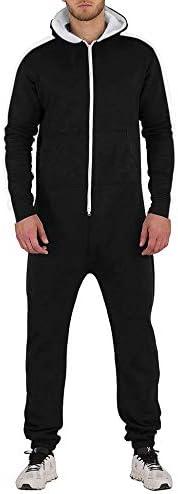 COOFANDY Men Rompers One Piece Jumpsuit Casual Hooded Zipper OverallsKangaroo Pockets