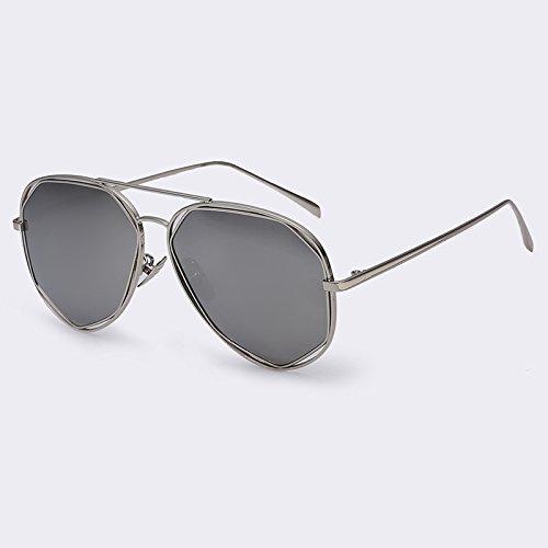 en TIANLIANG04 sol Bastidor Ponte polarizadas de dorado geometría Silver metal singular Doppio estilo Mujer gafas Moda de C05 de aleación piernas gafas de sol plata de C05 fRA7rR