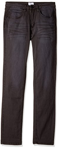 HUDSON Boys' Big Jagger Slim Straight Jean, Black Raw/Tonal, 14