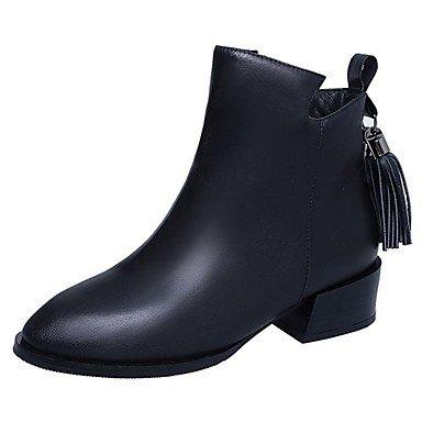 RTRY Zapatos De Mujer Otoño Pu Botas Botas De Combate Chunky Talón Señaló Toe Borla For Casual Negro Us7.5 / Ue38 / Uk5.5 / Cn38 US8.5 / EU39 / UK6.5 / CN40