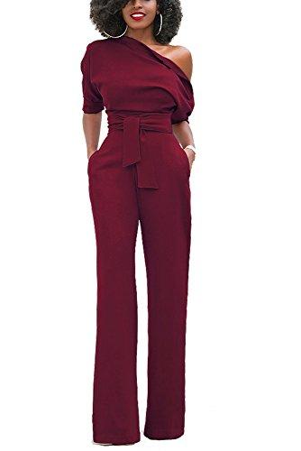 Zestway Women's Sexy One Off Shoulder Jumpsuit Solid Long Pants Romper Clubwear With Belt