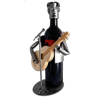 Guitar Player with Wooden Guitar Wine Bottle Holder H&K Steel Sculpture