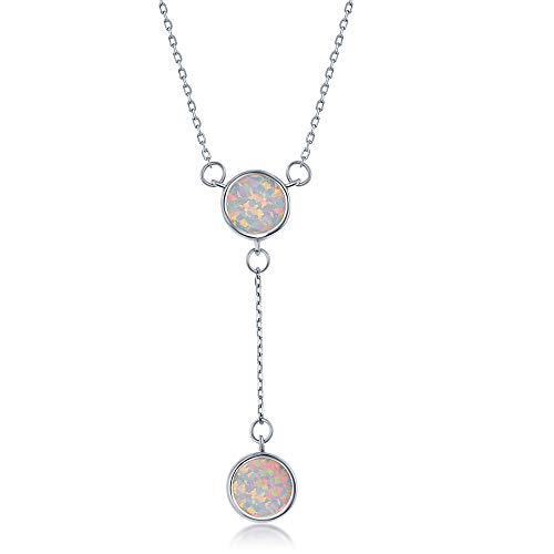 Sterling Silver Double White Inlay Opal Disc Lariat Necklace