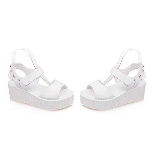 AmoonyFashion Womens Open Toe Kitten Heels Blend Materials Solid Hook and Loop Sandals White 1q1iA