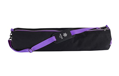AVIVA YOGA Yomad Mat Bag - Black, Eco-friendly and Highly Functional Canvas Bag with Multiple Compartments for Your Yoga Mat and Gear. Great Gift for You/Loved Ones! (Purple Accents, X-Large)