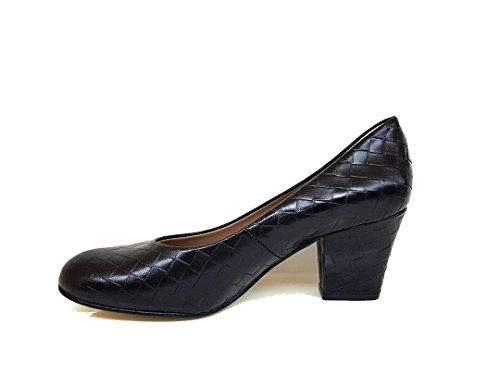 with Leather Toe XERRIE Nappa Heel Leather Closed Women´s GENNIA Block Treccia With Black Pumps qIwYTxnt