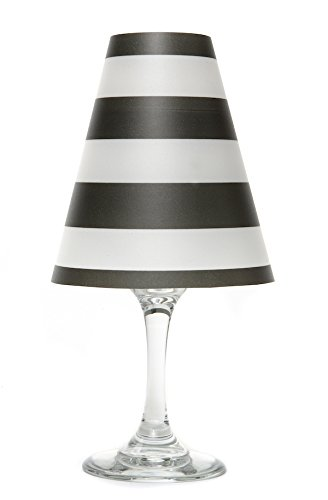 di Potter WS332 Nantucket Stripe Paper White Wine Glass Shade, Black (Pack of 12)