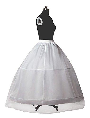 A-line Bridal Wedding Gown Crinoline (Petticoat Bridal Crinoline For Women Wedding Dress A-Line Underskirt Full Slip 2 Hoops Floor-Length Plus Size)