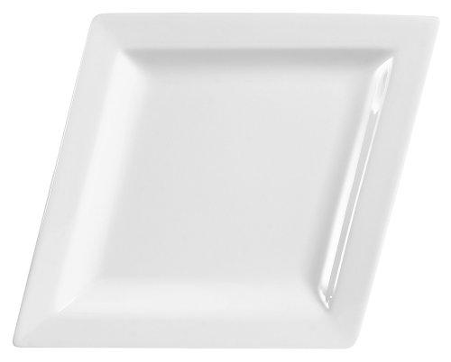CAC China DM-13 Diamond 12-Inch by 9-1/2-Inch Super White Porcelain Narrow Rim Platter, Box of 12