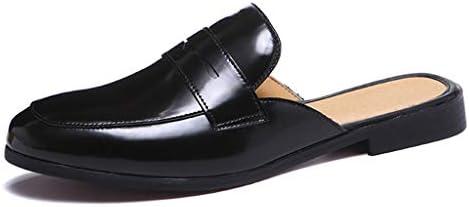 エナメル オフィスサンダル ビジネススリッパ メンズ 通勤 お洒落 ベルト付き かかとなし スリッパ 革靴 革サンダル ベーシック レザー ブラック 黒 スリッポン Uチップ コンフォート 軽量 通気性 ドクターサンダル