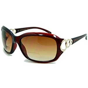 In Style Eyes Circle Power, Nearly Invisible Line Bifocal Sunglasses/Brown 2.50