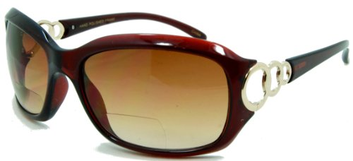 In Style Eyes Circle Power, Nearly Invisible Line Bifocal Sunglasses/Brown 2.00
