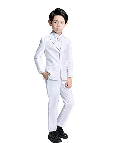 YuanLu Kids Boys White Suit for Communion with Blazer Pants Vest Shirt and Tie Size -