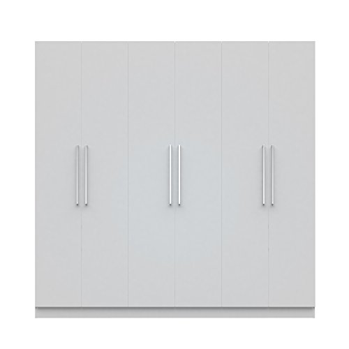 Manhattan Comfort Eldridge 2.0 3 Sectional Armoire Wardrobe Closet with 6 Doors, 4 Drawers, 9 Shelves and 3 Hanging Rods, 91