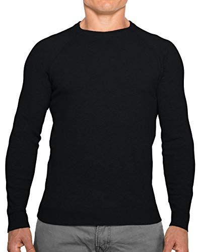 - CC Perfect Slim Fit Crew Neck Sweaters for Men | Lightweight Breathable Mens Sweater | Soft Fitted Pullover for Men, Medium, Black