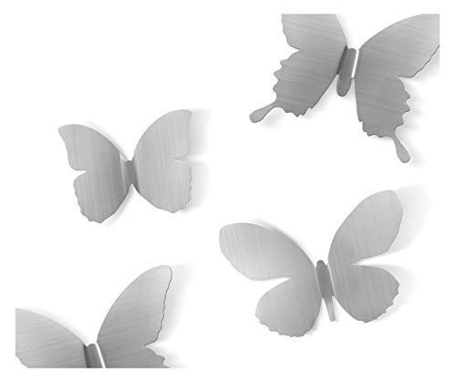 Umbra Mariposa Metal Wall Decor, Nickel, Set of 9