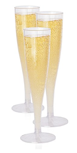 Plastic Champagne Flutes Glasses Set (10 Count) By Oasis Creations - 5 Ounce - Clear Stem Cups 1 Piece - Ideal for Birthday Party, Wedding Reception and Other Celebration!