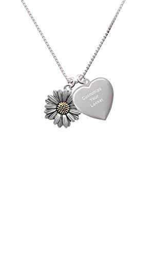 Large Two Tone Daisy Flower Custom Engraved Heart Locket Necklace
