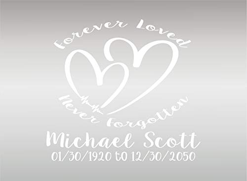(BSG Forever Loved in Loving Memory Personalized Decal Sticker/Vinyl Custom Vehicle Decal/Remembrance Sticker (White))