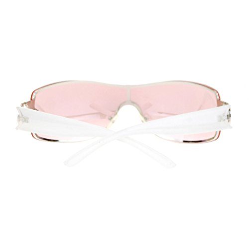 62c79bbdf34e3 Womens Elegant Rimless Shield Warp Luxury Designer Sunglasses White Pink
