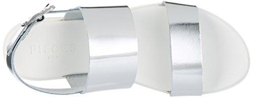 Argent Compensées Colour Leather Pslane Femme Silver Silver Pieces Sandales YaPFxx