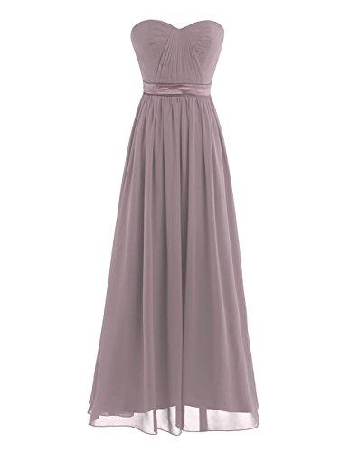 (Freebily Women's Strapless Pleated Wedding Bridesmaid Long Formal Dress Dance Dusty Mauve 12(Waist:31.0