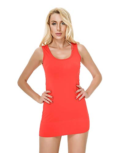 Moxeay Women Scoop Neck Cotton Extra Long Tank Top Vest (L, Red) -