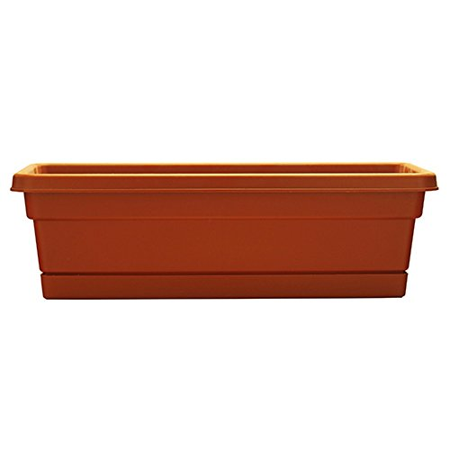 "Southern Patio 30"" Rolled Rim Window Box with Attached Tray, Terra Cotta"
