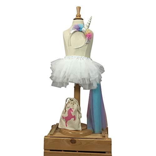 Rainbow Unicorn Dress Up Costume Outfit for Girls Birthday : Headband, Skirt Tail Outfit Size 1, 2, 3, 4, 5, 6, 7 Tutu Set -