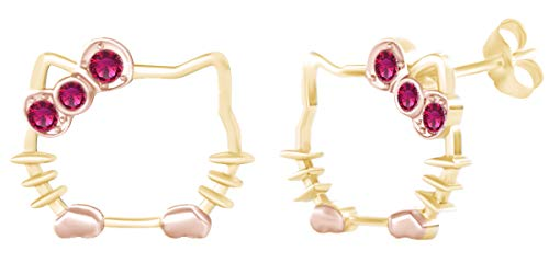 Round Shape Simulated Ruby 14k Yellow Gold Over Sterling Silver Two Tone Cat Stud Earrings ()
