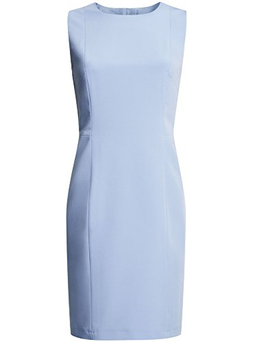 oodji Collection Mujer Vestido Básico sin Mangas Azul (7000N)