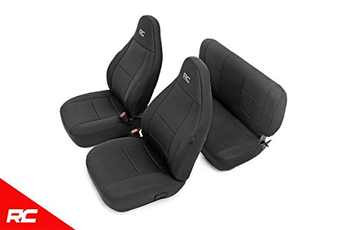 (Rough Country 91000 Neoprene Seat Covers Black 97-02 Compatible w/ 1997-2002 Jeep Wrangler TJ (Set) Custom Fit Water Resistant)