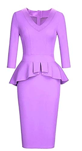 (CAISHA Women's Sheath Dresses Bodycon Peplum 3 Quaters Long Sleeve Cocktail Midi Gown, Lavender Vneck, Medium)