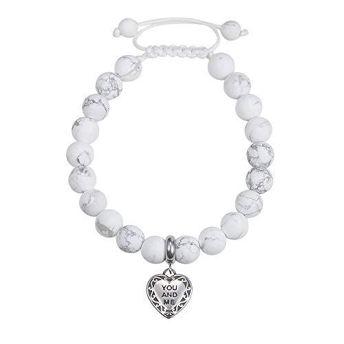 Jeka Heart Love Charm White Howlite Stone Bracelet for Women Girls Yoga Natural Beads Adjustable