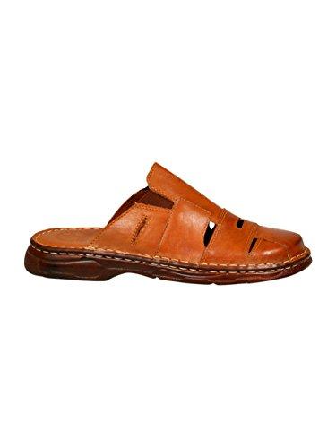 Lukpol Mens Orthopedic Form Buffalo Leather Sandals Model-863 Brown