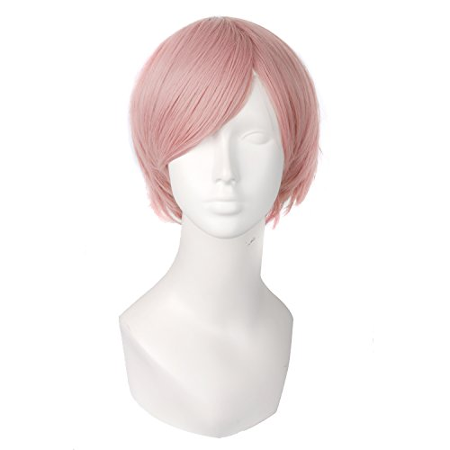 MapofBeauty Men's Short Straight Wig Cosplay Costume Wig (Pink) (Short Pink Wig)