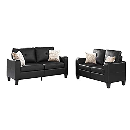 Amazon Com Sectional Sofa 2 Piece Set With Loveseat Faux Leather