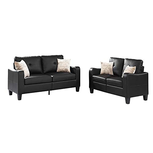Sectional Sofa 2 Piece Set with Loveseat. Faux Leather (Black), Great for Living Room, Guest Room Office. 2019 Updated Model by Bliss Brands (Best Sectional Brands 2019)