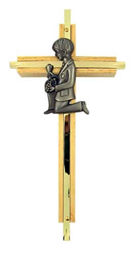 First Communion Oak Wood and Brass Wall Cross with Fine Pewter Boy Casting, 7 -