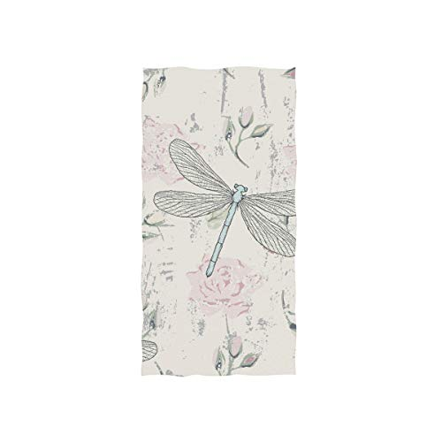 senya Grungy Floral Dragonflies Hand Towel Ultra Soft Luxury Towels for Bathroom 30