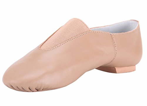 Linodes Women's Leather Upper Jazz Shoe Slip-on with Elastic Top Piece by Linodes