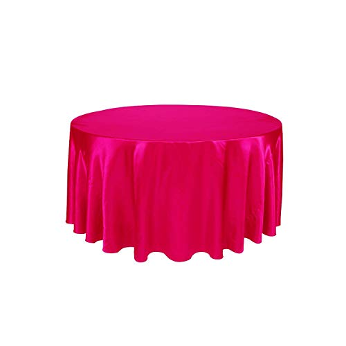 PANSHANYAO Tablecloth White Black Color Wedding Birthday Party Table Cover Round Table Cloth Home Decor,Fuchsia,108inch-275cm from PANSHANYAO