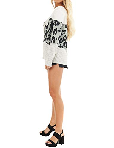 MYMORE Women Leopard Stripe Patchwork T Shirts Long Sleeve Fashion Tops with Pocket