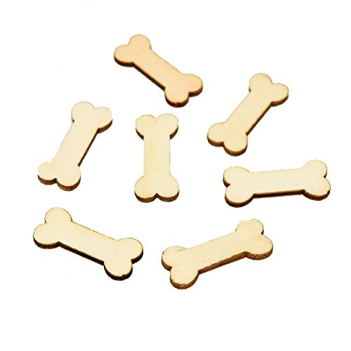 Monrocco 100pcs Unfinished Wood Dog Bone Cutouts for Wooden Craft DIY Projects, Gift Tags or Home Decoration